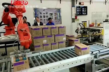 尔必地码垛机器人流水线上搬运码垛纸箱案例