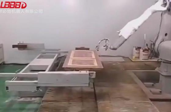 臂展2400负载6公斤喷涂机器人喷门案例视频